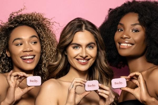 Three beautiful girls who hold Bushy Browsoap